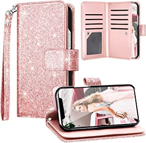 Fingic Compatible with iPhone 12 Pro Max 5G Case Wallet Case Glitter Sparkle Cover 9 Card Holder PU Leather Kickstand Wrist Strap Protective Case for Women Apple iPhone 12 Pro Max 5G 6.7