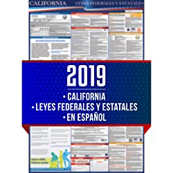 "2019 Spanish California State and Federal Labor Laws Poster - OSHA Workplace Compliant 24"" x 36"" - All in One Required Posting - UV Coated - En Español"