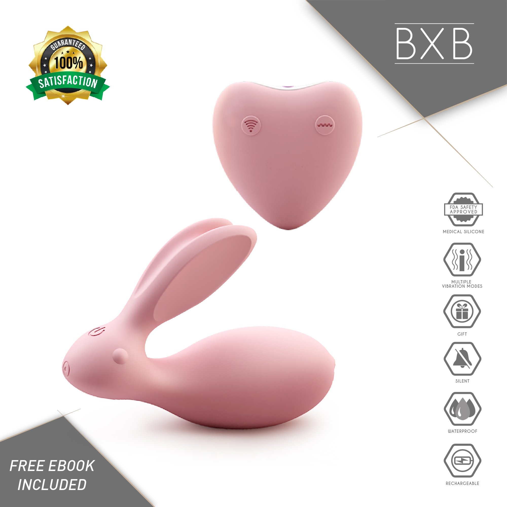 Discreet, Rabbit-Shaped Massager by BXB | Powerful | Cordless | Compact | Therapeutic | Recovery | Muscle Aches | Travel Gift | Hypoallergenic | Silicone | USB | Wireless | Stress Away