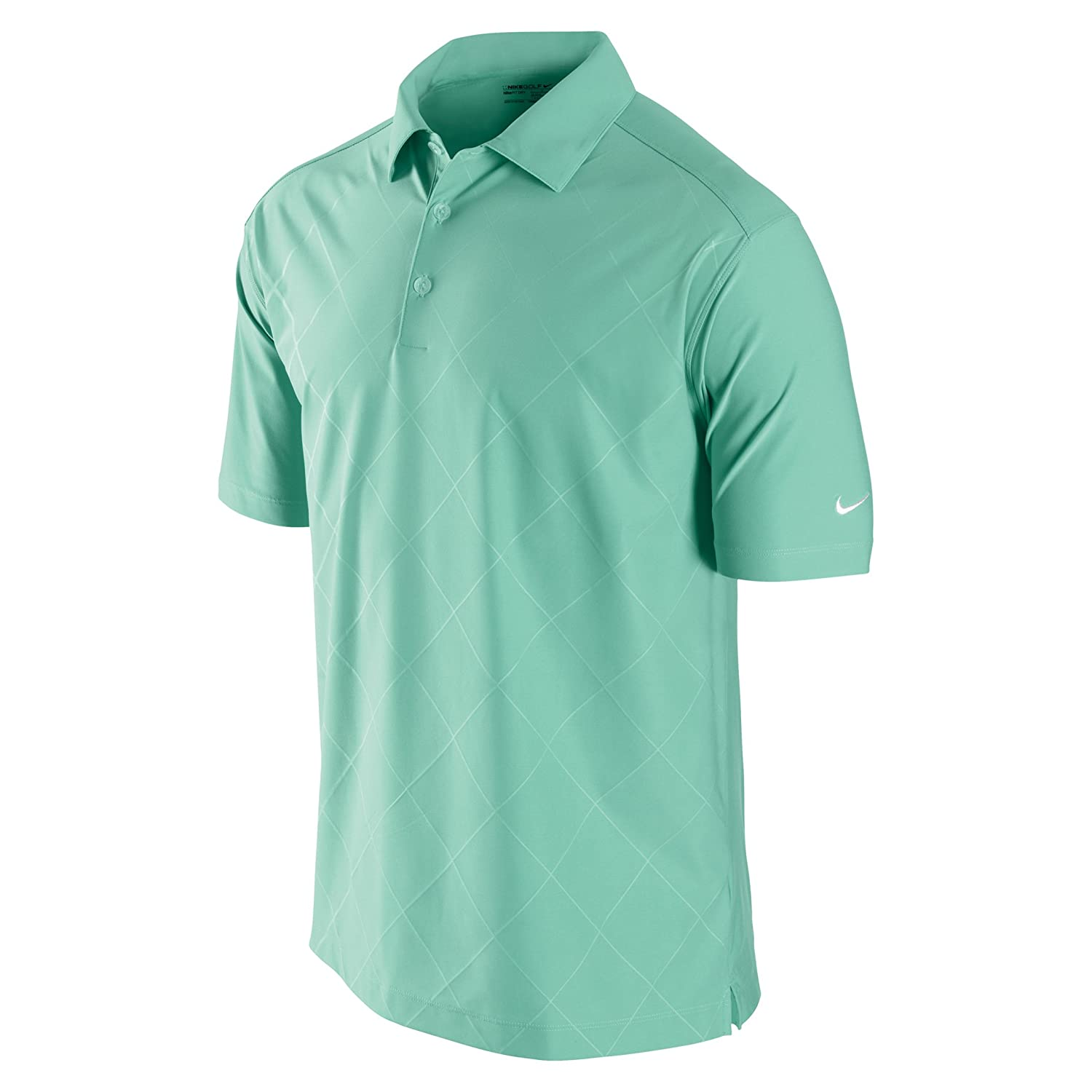 8bf49939 Amazon.com : Nike Men's Debossed Argyle Golf Polo Shirt, Cool Mint/White,  Small : Golf Apparel : Clothing