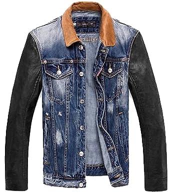Men's hooded jean leather jacket