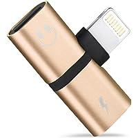 RoiCiel (ディアルズシーリズ)iPhoneイヤホン変換アダプタ Lightingポート2つ付き イヤホンジャック 充電 2in1 iPhoneXS/iPhoneXS max/iPhoneXR/iPhone X/iPhone 8/8 Plus アイフォン専用 通話 音楽 DARZ-YAHO-002-G(ゴールド)