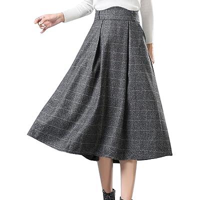Oberora Womens High Waist Big Hem Slim Fit Plaid Thickened Wollen Skirt