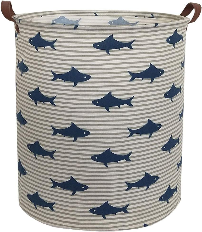 Sanjiaofen Canvas Fabric Storage Bins,Collapsible Laundry Baskets,Waterproof Storage Baskets with Leather Handle,Home Decor,Toy Organizer (Shark)