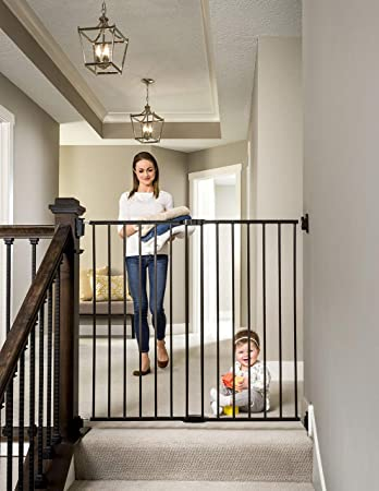 Regalo 2 In 1 Extra Tall Easy Swing Stairway And Hallway Walk Through Baby Gate Black Baby