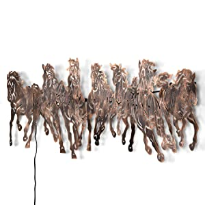 Collectible India Metal 3D LED Backlit Running Horse Wall Mounted Hanging Art Sculpture Home Office Showpiece Decor(Size 42 x 17 Inches)