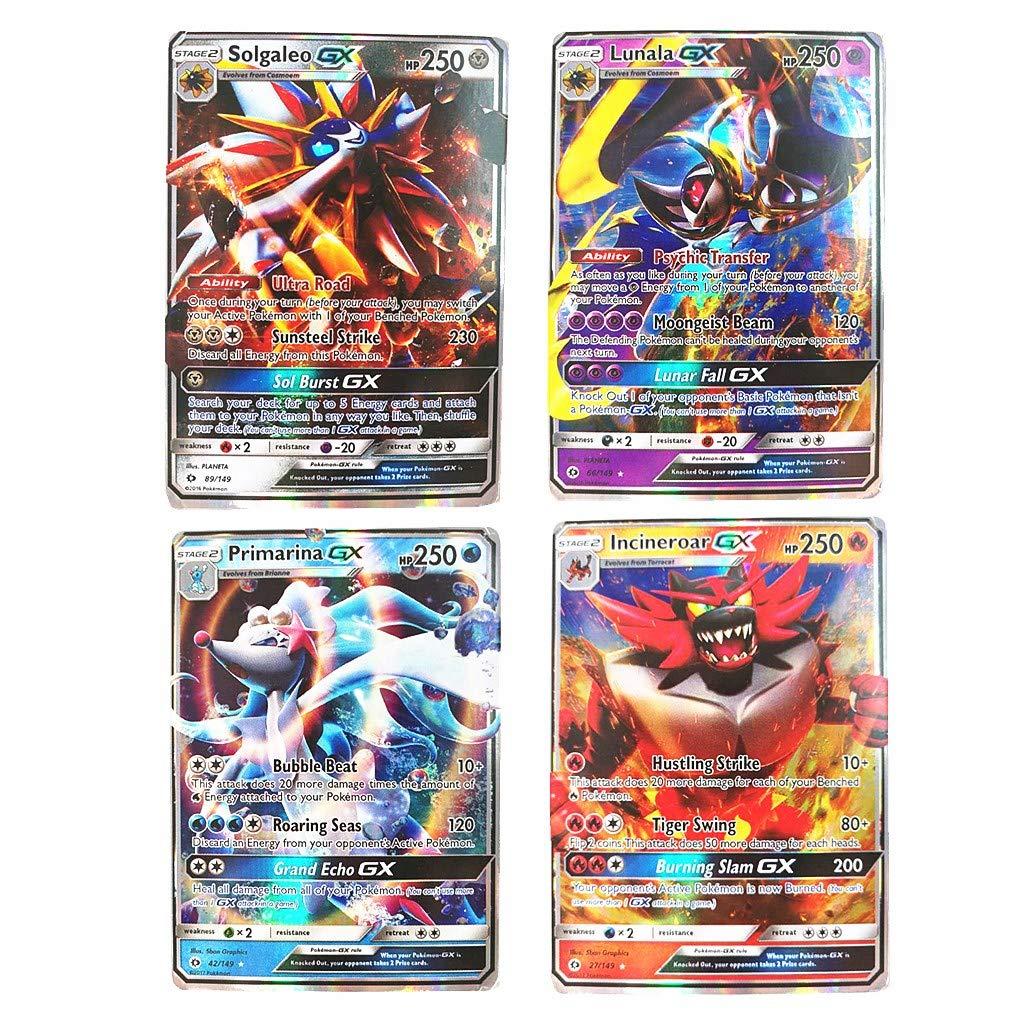 Dorara 20 Pi/èces Rare Pokemon GX Cartes Flash Cartes /à Collectionner 180 HP ou Sup/érieur