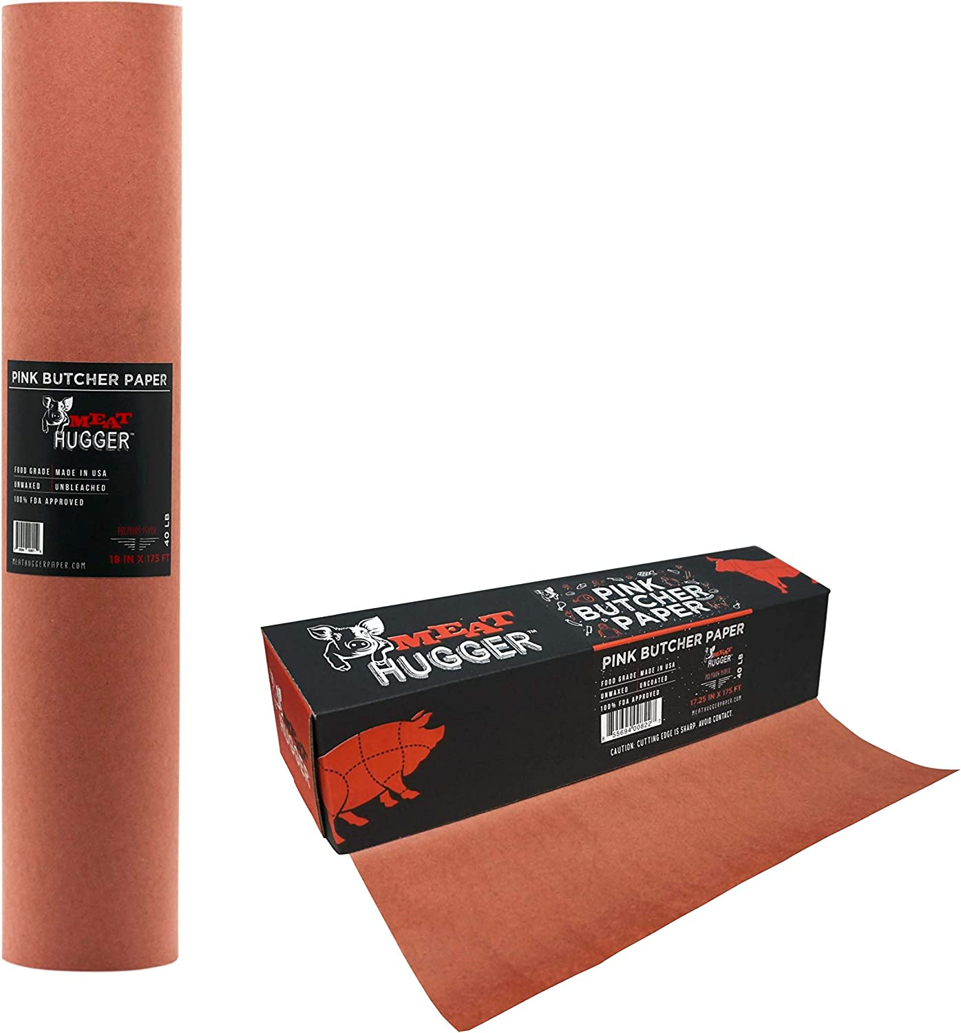 Pink Butcher Paper - For Meat Smoking and Barbecue - Heavy Duty Unwaxed Food Grade Paper - Smoker Safe - Wrap While Cooking For Tender Steak, Brisket, and More - Unbleached Roll With Dispenser