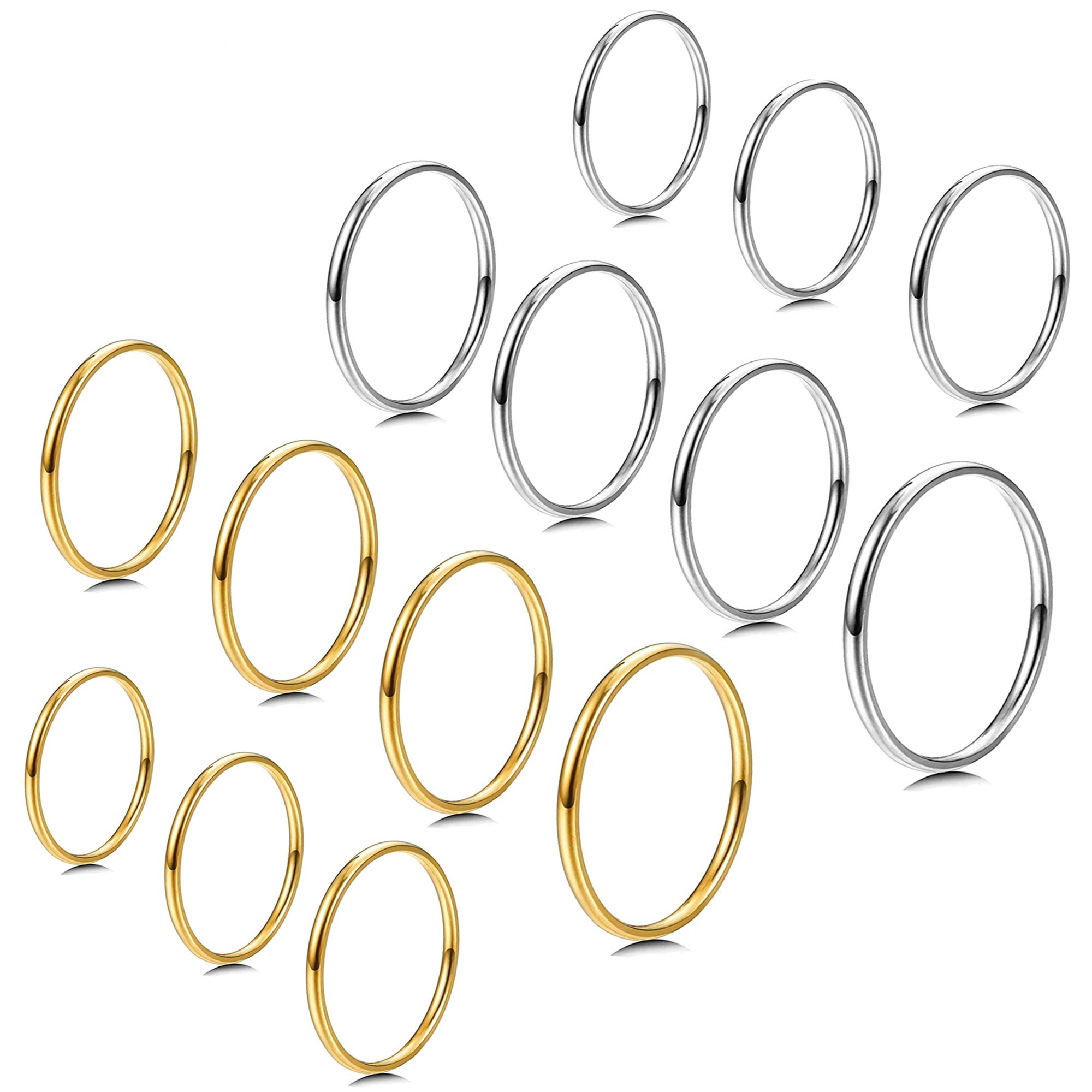 Milacolato 7-14 PCS 1MM Stainless Steel Band Knuckle Stacking Rings for Women Girls Fashion Midi Rings Comfort Fit Size 3-9 by Milacolato