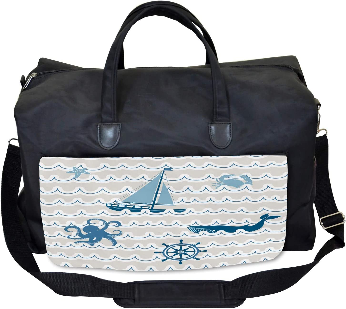 Cartoon Ship Whale Waves Large Weekender Carry-on Ambesonne Kids Gym Bag