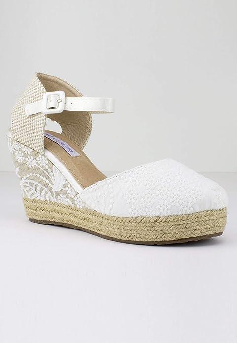 Mandarina - Cuñas para Novia Leticia - Blanco, 39: Amazon.es: Zapatos y complementos
