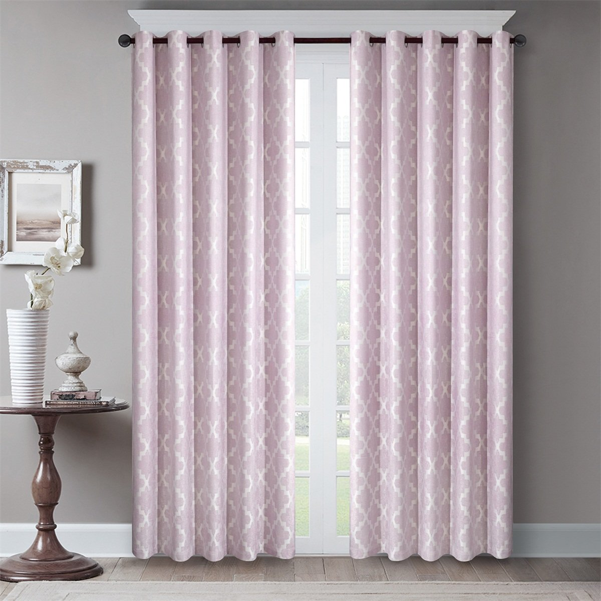 Dreaming Casa Room Darkening Grommet Top Window Treatment 96 Inches Long Printed Blackout Curtains Draperies for Bedroom Living Room 2 Panels / Pink 72'' W x 96'' L