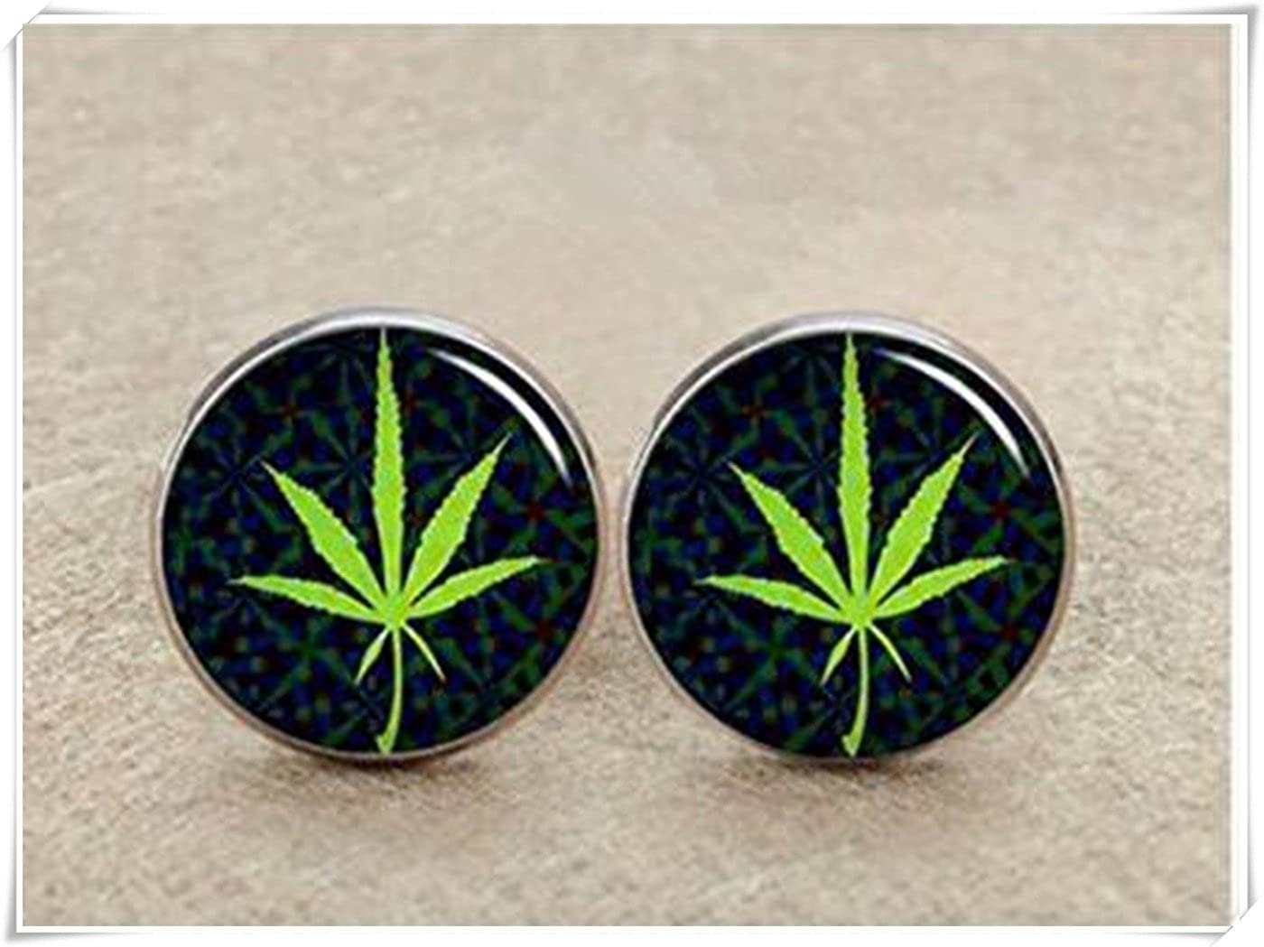 Rasta Cannabis Leaf Cufflinks,image cufflinks,mens cufflinks CX28