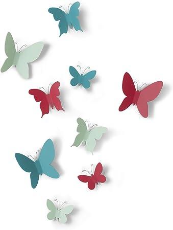 Dimension de chaque entre 5x7 et 9x10cm UMBRA Mariposa Coloris blanc Jeu de 9 papillons en plastique Marisposa pour d/écor mural