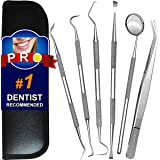 Dental Tools, 6 Pack Teeth Cleaning Tools Stainless Steel Dental Scraper Tooth Pick Hygiene Set with Mouth Mirror…