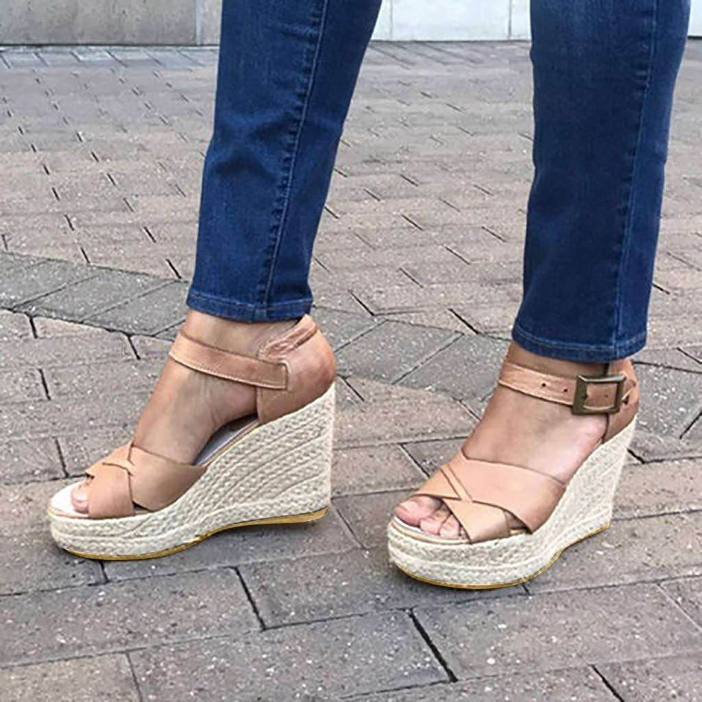 VESNIBA Women's Wedge Sandals Thick-Soled Waterproof Buckle with Roman Sandals Pink by VESNIBA LLC (Image #2)