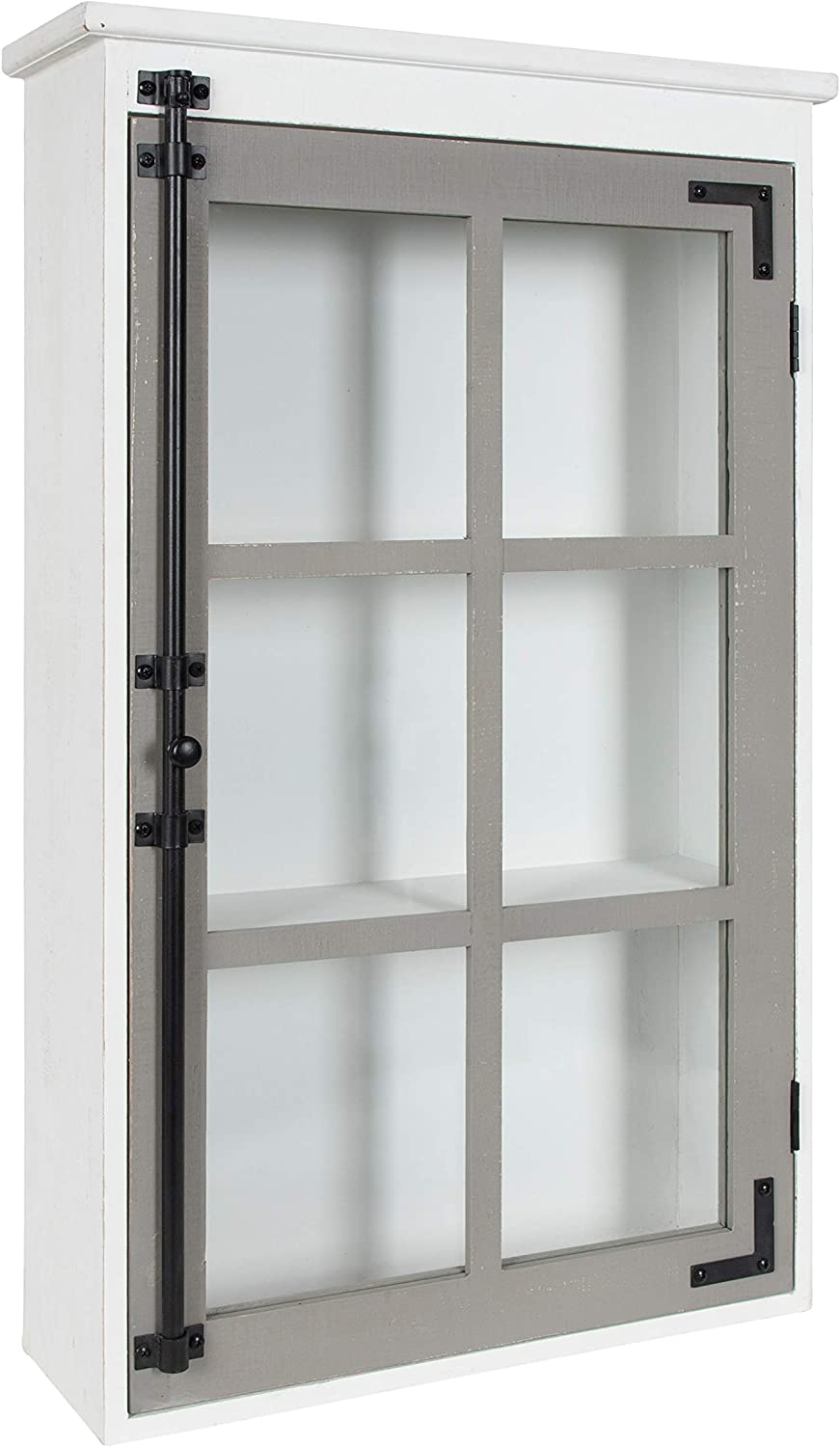 """Kate and Laurel Hutchins Rustic Wall Cabinet, 19.5"""" x 6"""" x 31.5"""", White and Gray, Farmhouse Cabinet with Glass Door"""