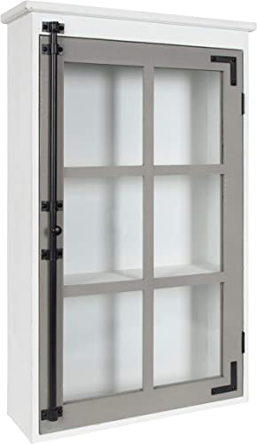 Kate and Laurel Hutchins Rustic Wall Cabinet, 19.5 x 6 x 31.5 , White and Gray, Farmhouse Cabinet with Glass Door
