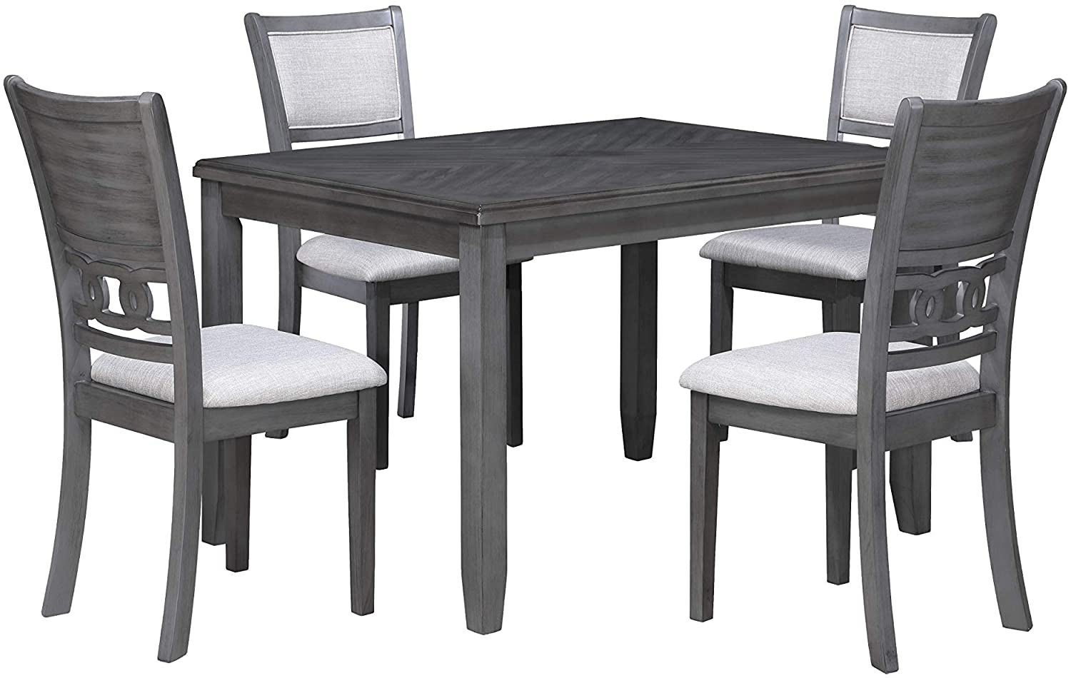 New Classic Furniture Gia 5-Piece Dining Table with Four Chairs, 48-Inch, Gray, Set