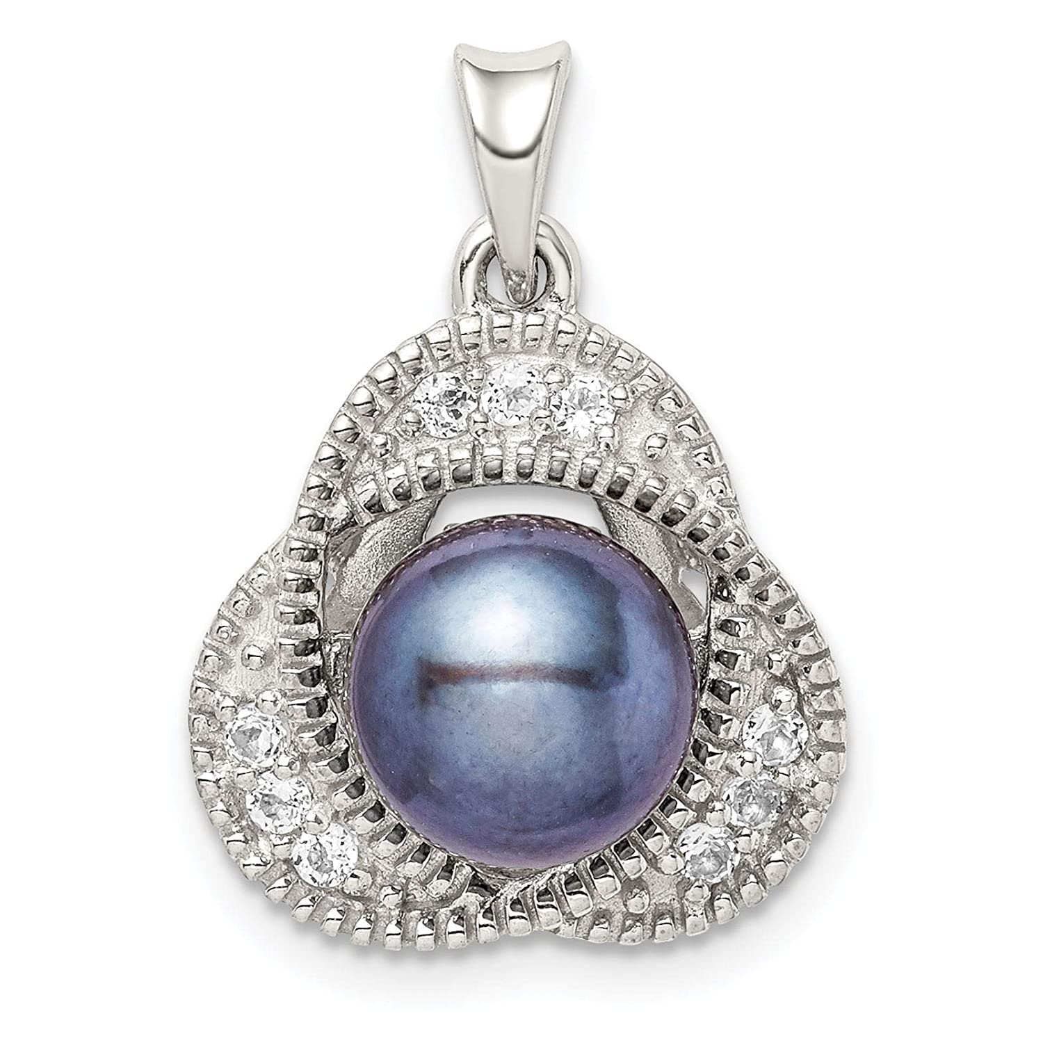 925 Sterling Silver Black Freshwater Cultured Pearl /& White Topaz Charm Pendant