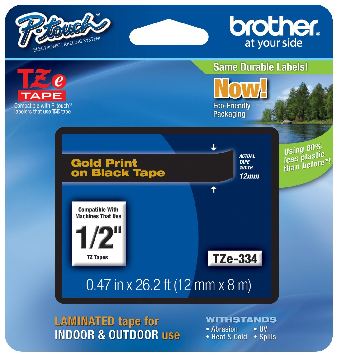 Brotheramp;reg; P-Touchamp;reg; - TZe Standard Adhesive Laminated Labeling Tape, 1/2w, Gold on Black - Sold As 1 Each - Perfect for labeling file folders and binders, name badges, and small signage.