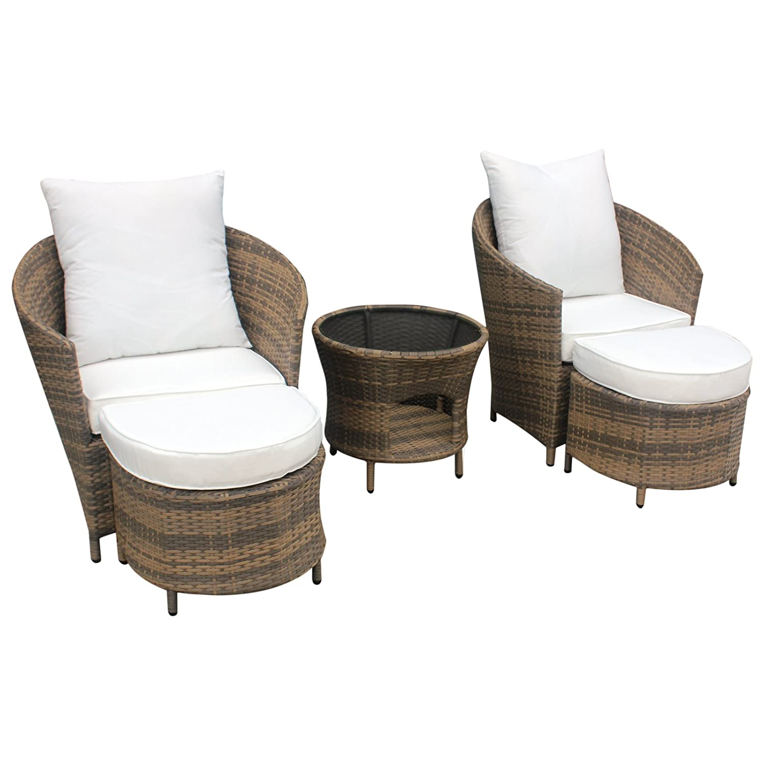 gartenm bel polyrattan lounge sitzgruppe garnitur 2 sessel mit hocker 1 x tisch kaffee wei. Black Bedroom Furniture Sets. Home Design Ideas