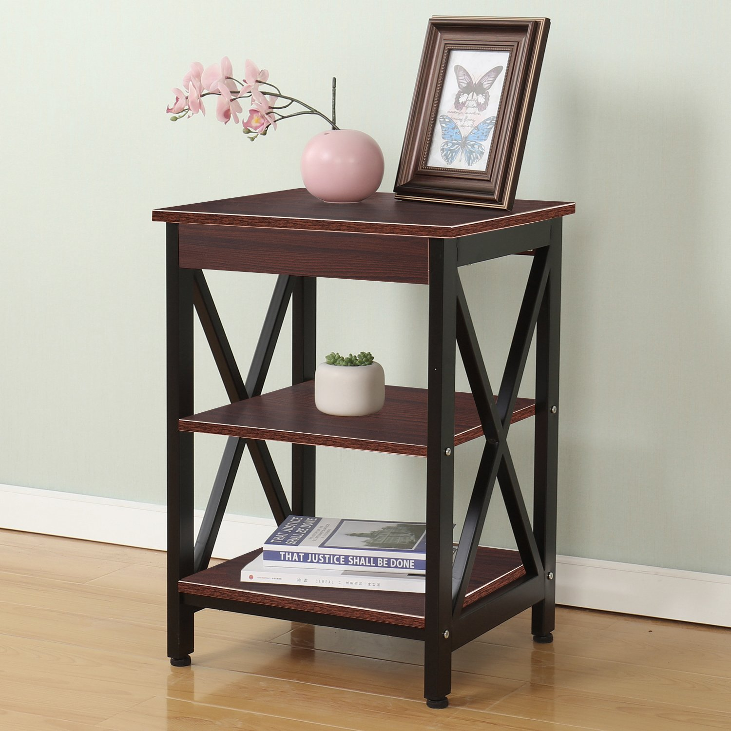 Soges Classic End Table Coffee Table Night Stand Side Table Sofa Table with 3-tier Shelf 17 inch, Walnut WK-FCJ001-RD
