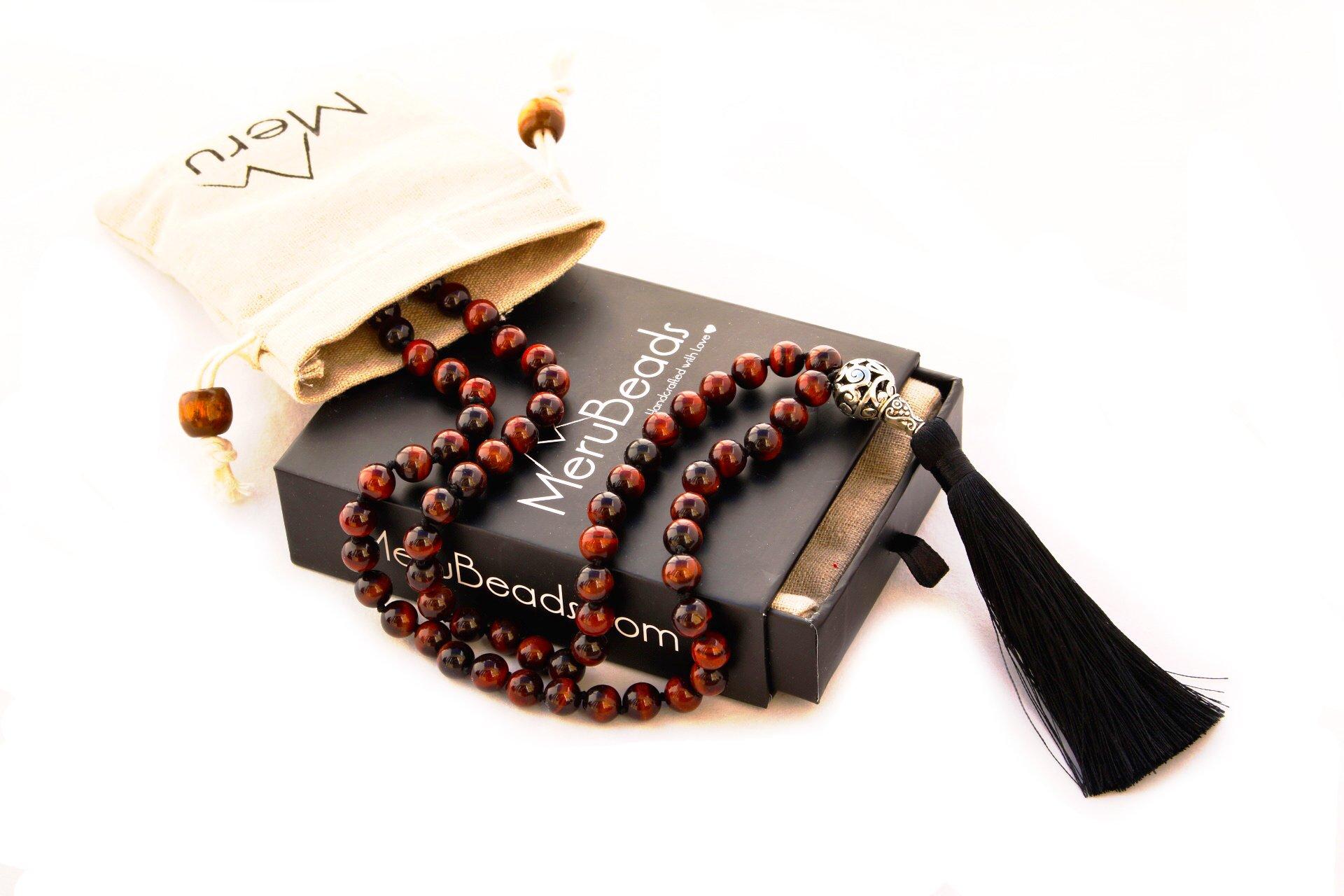 Premium Exotic Tiger Eye RED Mala Beads Necklace - Japa Mala - Buddha Necklace - Tigers Eye Necklace - Buddhist Prayer Beads - Tassel Necklace - 108 Mala Beads Meditation - Meru Beads Necklace