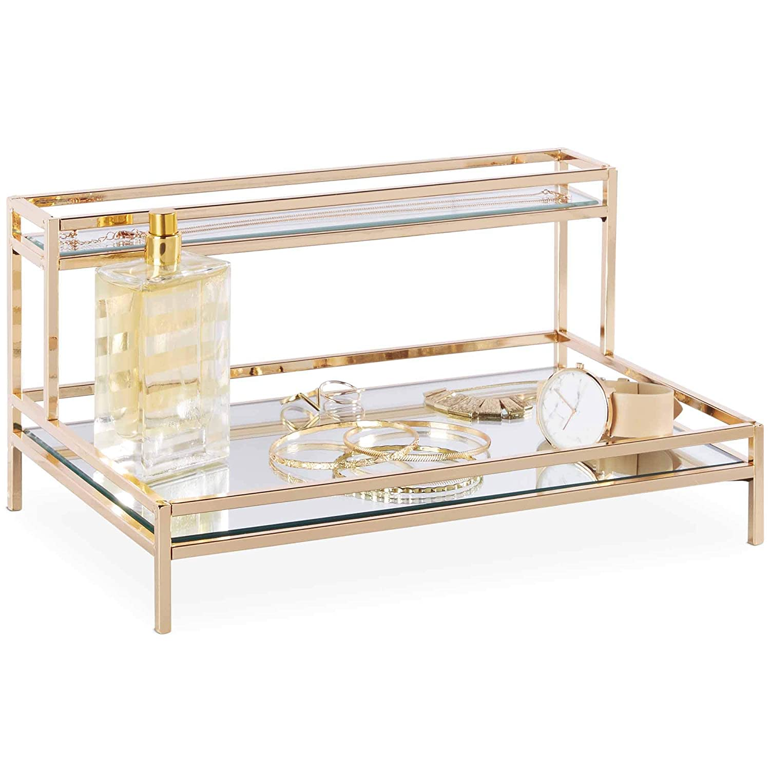 Beautify Mirrored Vanity Tray for Dresser Jewelry and Perfume Tray – Two Tier Trays with Champagne Gold Finish L12 x D7.8 x H5.9 inches