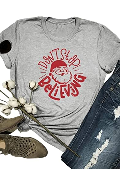 a5189374 Christmas Don't Stop Believing Santa T-Shirt Women's Cute Funny Graphic Tees  Shirt Short Sleeve Casual Solid Blouse Tops at Amazon Women's Clothing store :