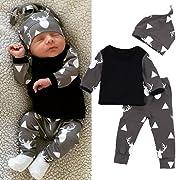 FEITONG Newborn Toddler Baby Boy Girl Deer Tops T-shirt+Pants Leggings 3pcs Outfits Set (3 Months, Black)
