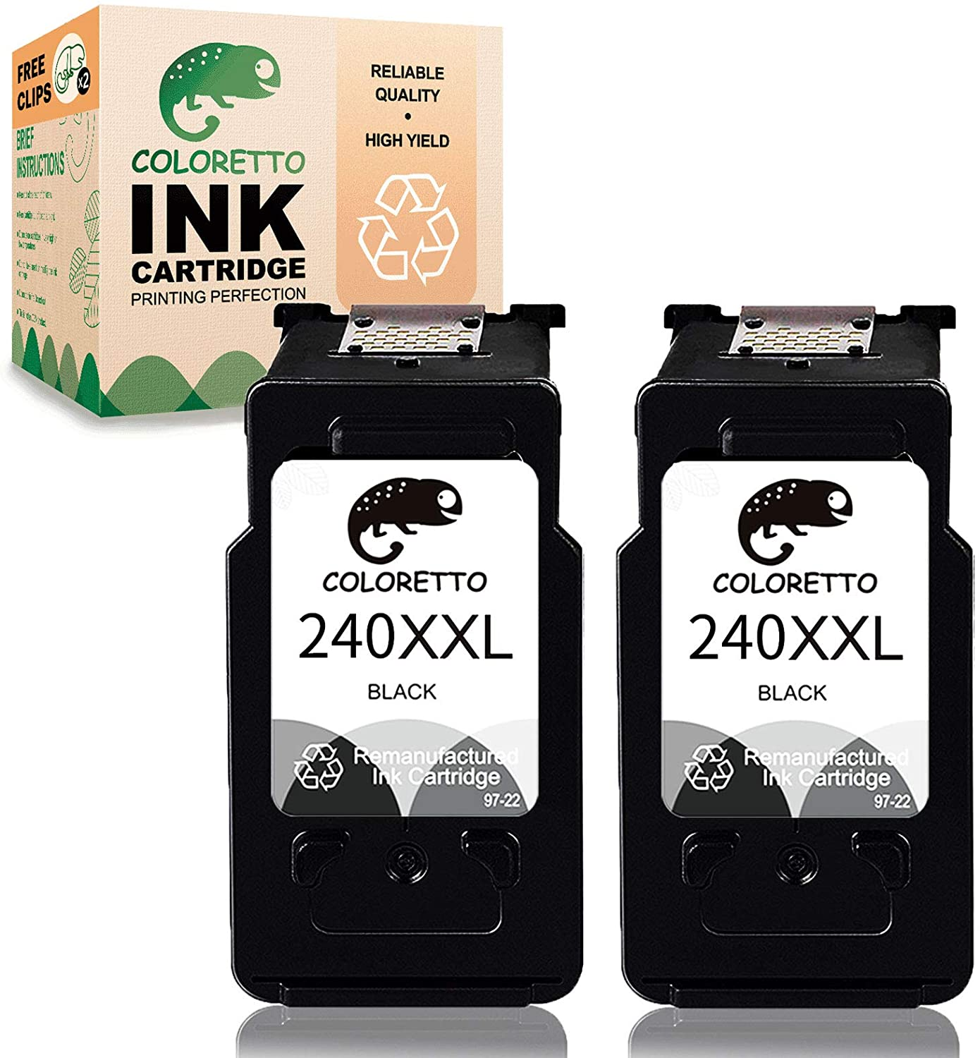 COLORETTO Remanufactured Printer Ink Cartridge Replacement for Canon PG-240XXL,240 XL 240 XXL to use with Pixma MX472 MX452 MX532 MX432 MX512 MG3620 MG3522 MG2120 MG2220 MG3220 (2 Black) Combo Pack