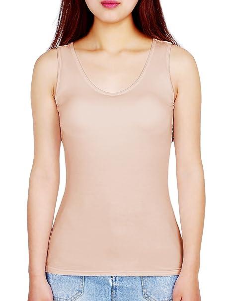 Camisolas de Mujeres Camisetas sin Mangas Camisola con Sujetador Incorporado Cami con Almohadilla para Mujeres Chicas