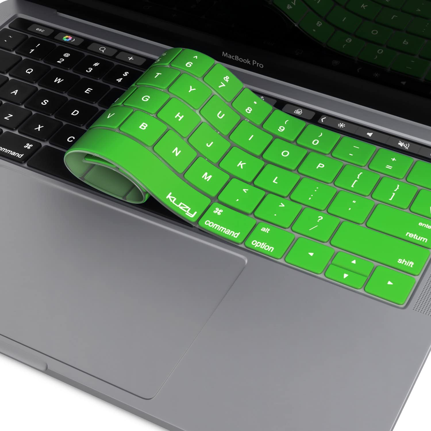 Kuzy - MacBook Pro Keyboard Cover with Touch Bar for 13 and 15 inch 2019 2018 2017 2016 (Apple Model A2159, A1989, A1990, A1706, A1707) Silicone Skin Protector - Green