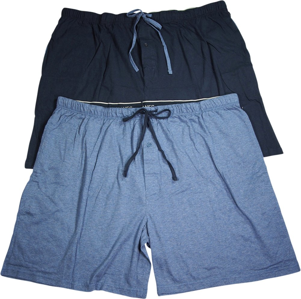 Hanes Mens Jersey Lounge Drawstring Shorts With Logo Waistband, Champbre Blue Heather/Blue Depth, Pack 2 40129-X-Large