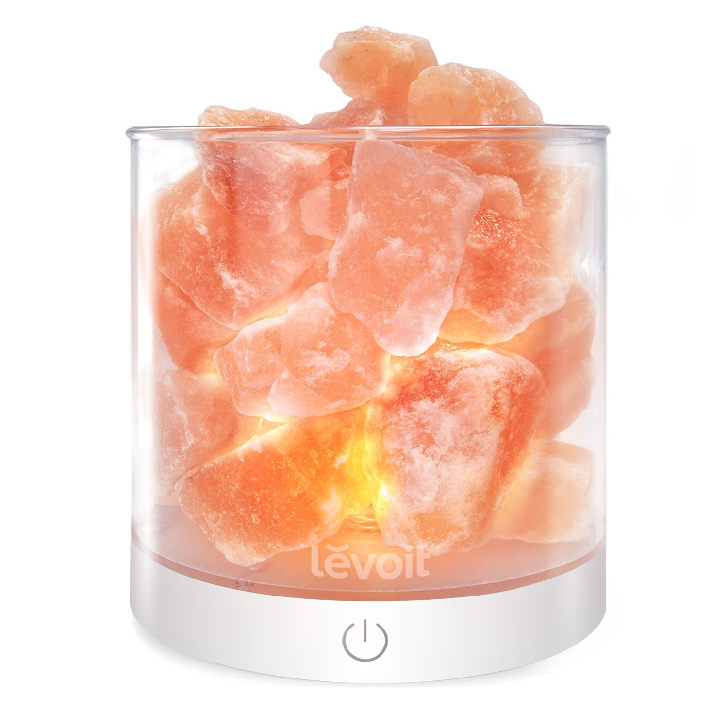 Levoit Cora Himalayan Salt Lamp, Natural Hymalain Pink Salt Rock Lamps, USB Himilian Sea Salt Crystal Night Light with Touch Dimmer Switch,3 Bulbs,UL-Listed Cord & Luxury Gift Box by LEVOIT