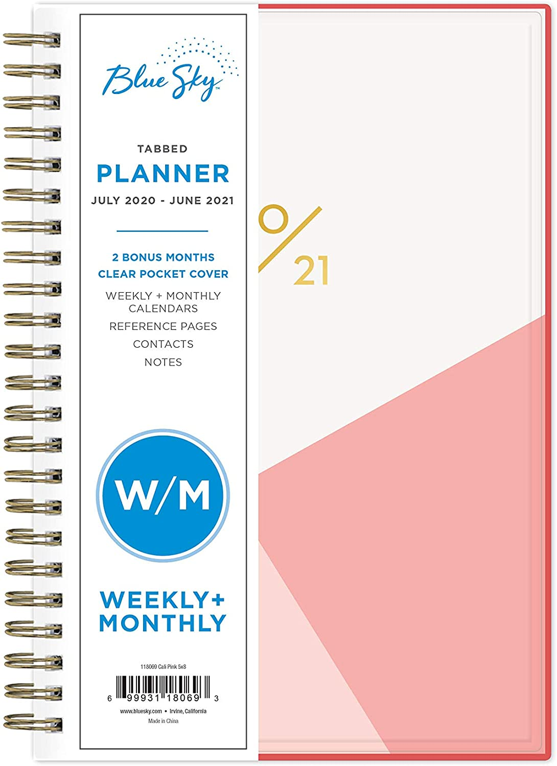 """Blue Sky 2020-2021 Academic Year Weekly & Monthly Planner, Flexible Cover, Twin-Wire Binding, 5"""" x 8"""", Cali Pink"""