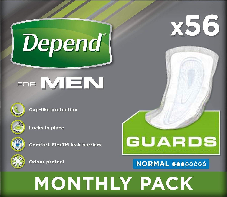 Depend Compresas para la incontinencia para hombre, máxima absorción y protección–Paquete de de 56compresas