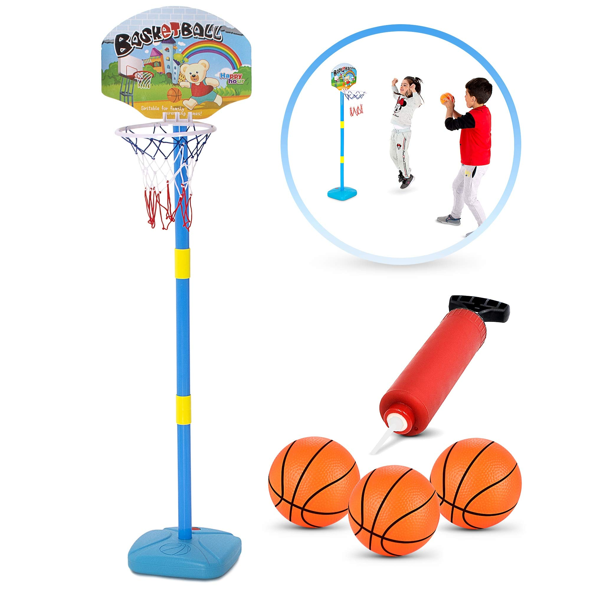 BRITENWAY Kids Basketball Hoop Play Set - Adjustable Height 25-52 Inches - Ideal for Toddlers Kids & Adults, Ages 3 Years and Up -Indoor - Outdoor Play, Sturdy Durable & Safe by BRITENWAY