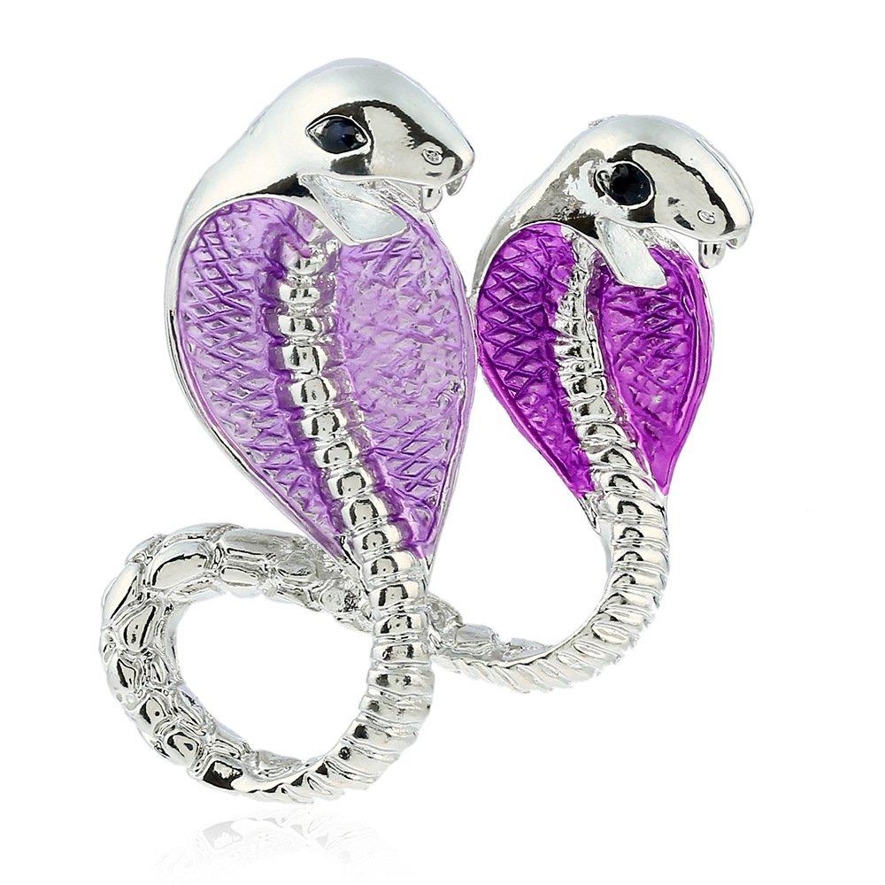 Winter's Secret European Popular Style Fashion Purple Double Cobra Alloy Brooch Animal Pin Jewelry