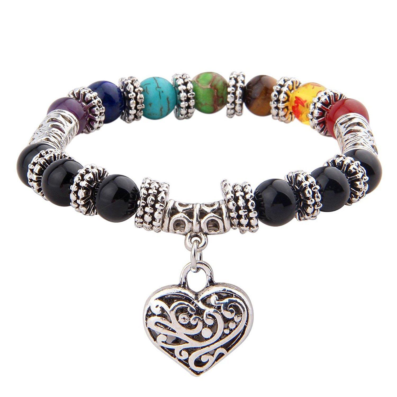 Zuo Bao 7 Chakra Natural Stone Yoga Bracelet 8mm Nature Stone Braided Rope Healing Yoga Bracelet