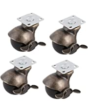 Meccion Antique Ball Casters Wheels Heavy Duty Rubber Base & Double Bearing Vintage Bronze Locking Swivel Caster Set of 4 (2 inch)