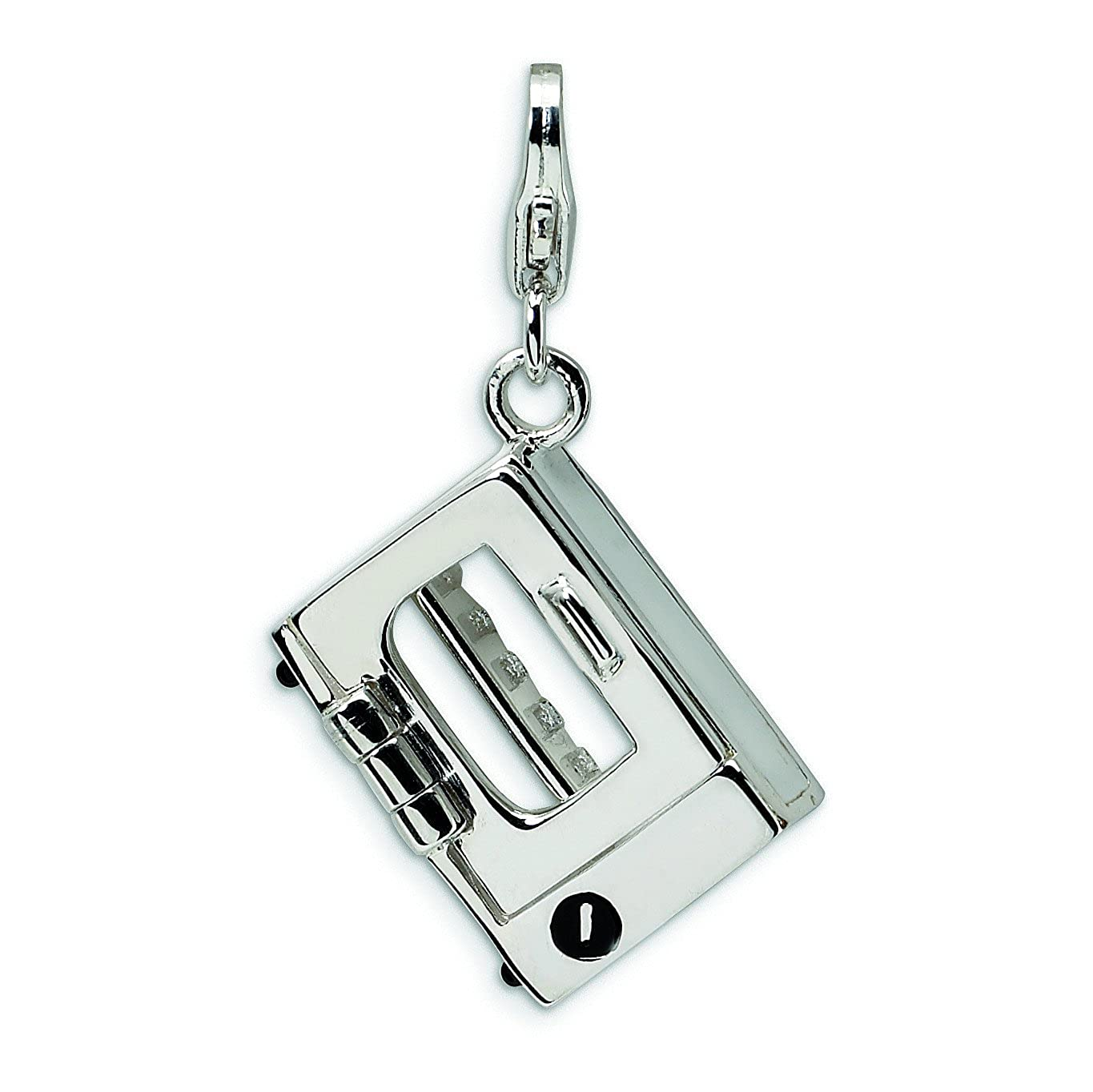 Sterling Silver 3-D Enameled Toaster Oven W/Lobster Clasp Charm
