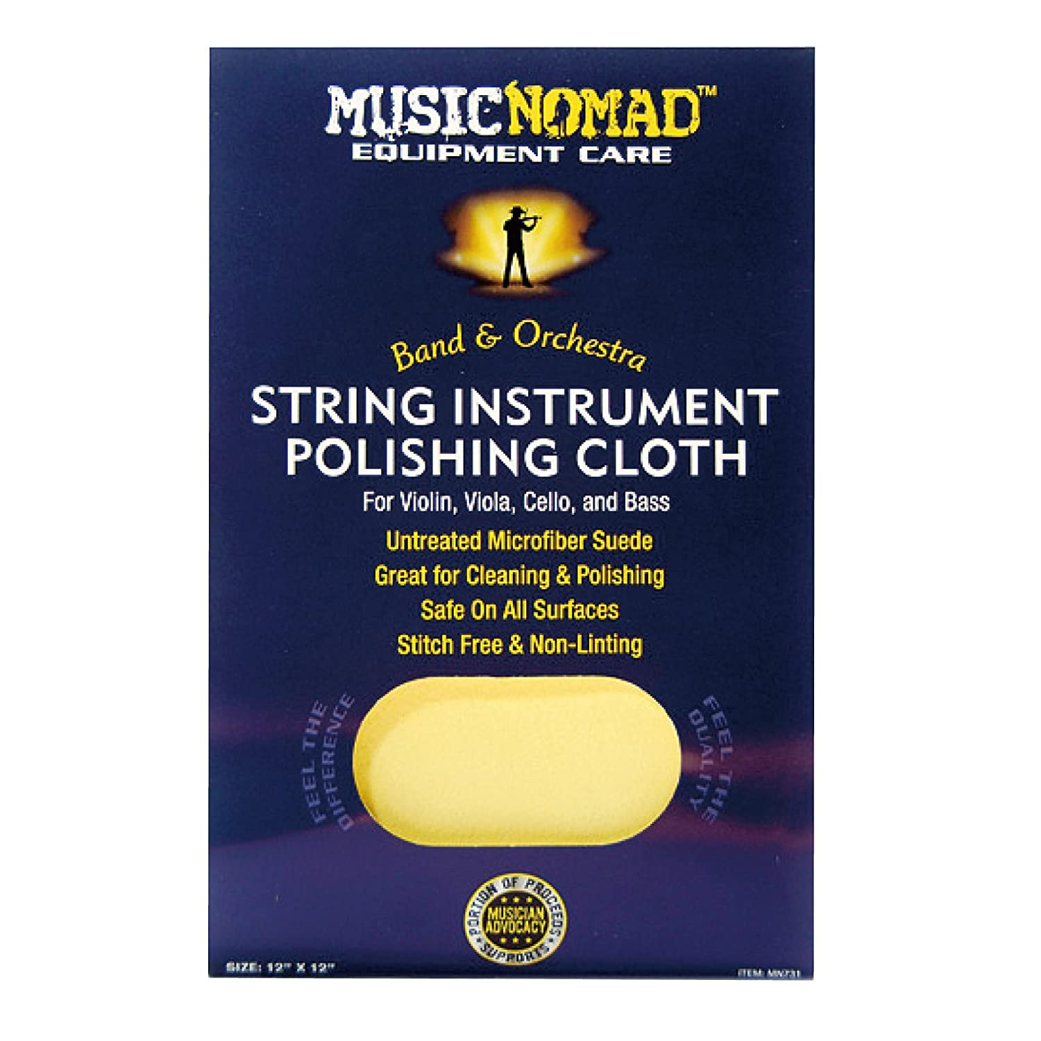 MusicNomad String Instrument Premium Microfiber Polishing Cloth for Violin, Viola, Cello and Bass MN731