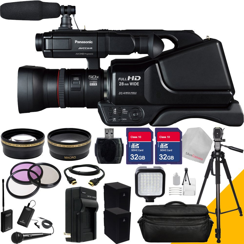 Panasonic Ag-ac8pj with Two 32GB SDHC Memory Card, TwinMic System, Full Size Tripod, Camera Case, Wide Angle Lens, Telephoto Lens, LED light Flash, Two Extra Batteries, Charger and More