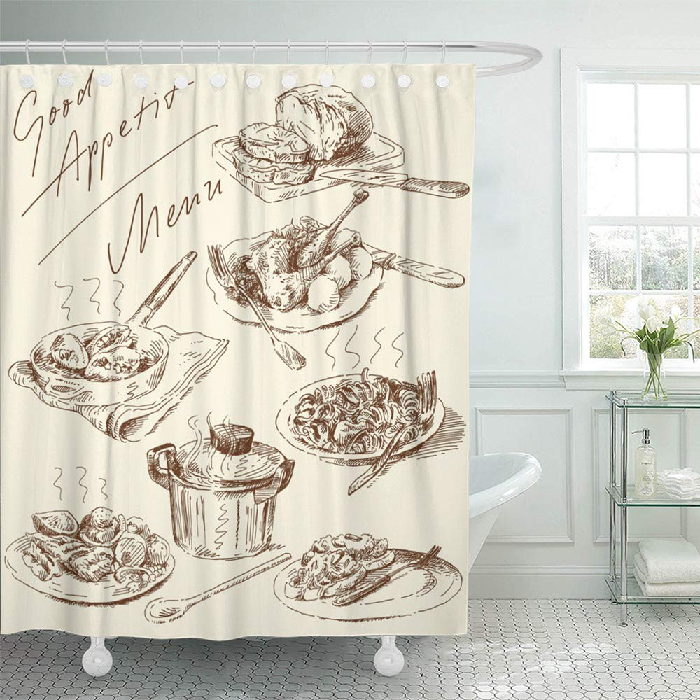 Emvency Shower Curtain Waterproof Adjustable Polyester Fabric Food Original Hand Drawn Pasta Italian Restaurant Meat Meal Retro Chicken 72 x 72 Inches Set with Hooks for Bathroom