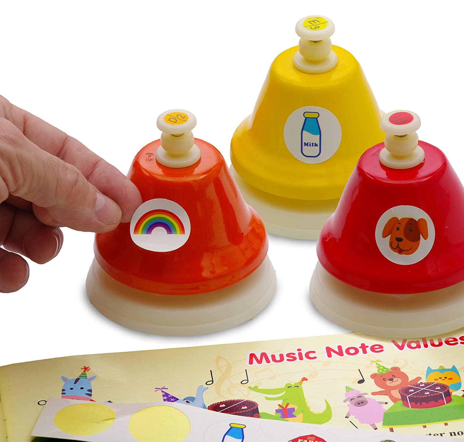 Song Book with Easy Sheet Music Color Stickers Music Notes Cards 8-note Color Desk Bell Set