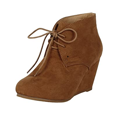 Amazon.com | Anna Sally-5 Womens Adorable Almond Toe Lace Up Wedge ...