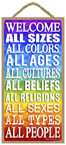 Welcome All People - 5 x 10 inch Hanging Signs, Wall Art, Decorative Wood Sign, House Decor