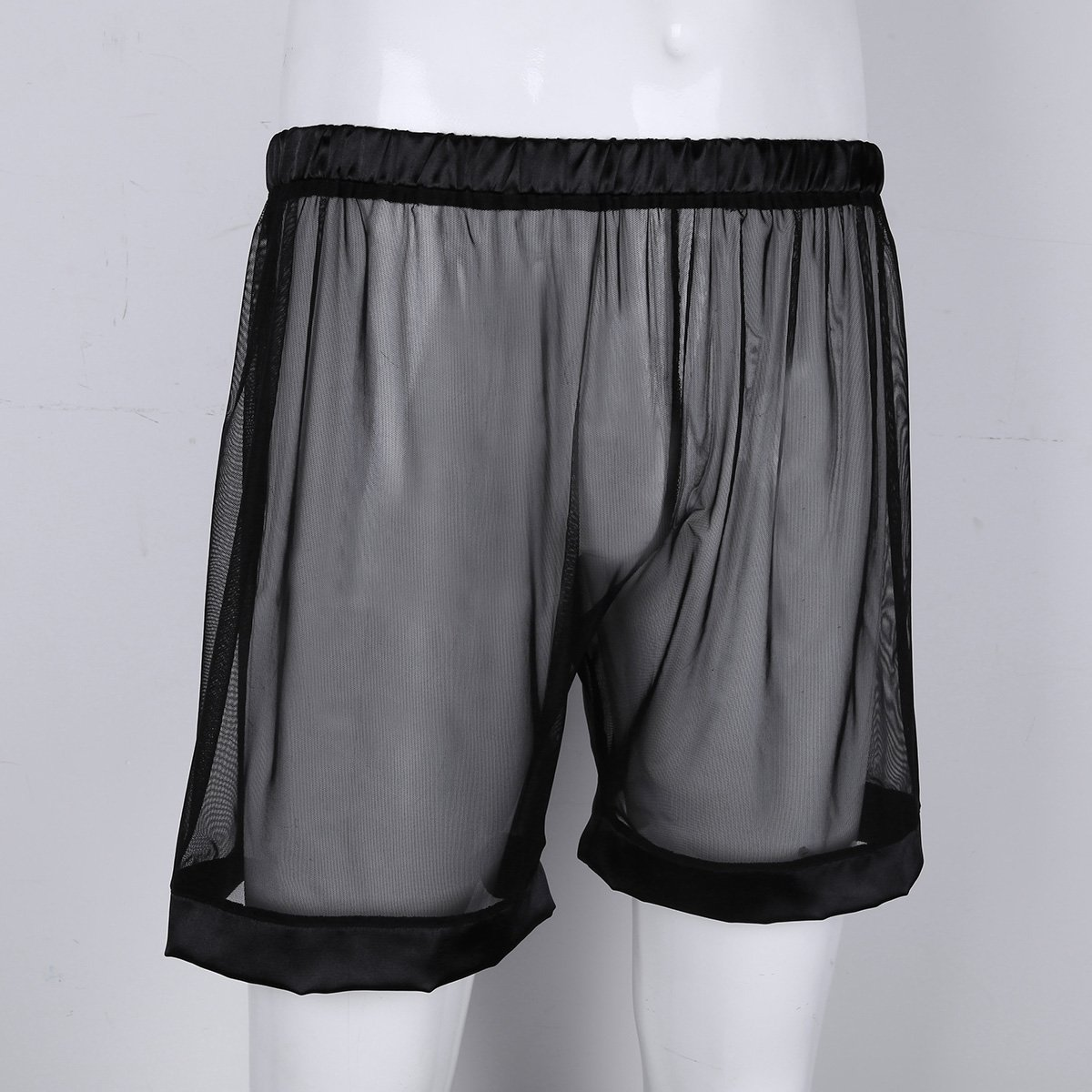 Alvivi Mens Mesh See-Through Loose Lounge Boxer Shorts Underwear